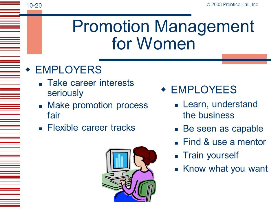 Promotion Management for Women