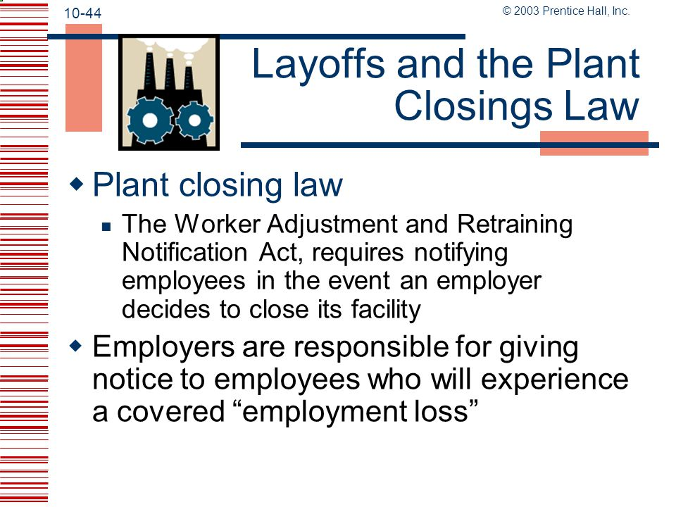 Layoffs and the Plant Closings Law