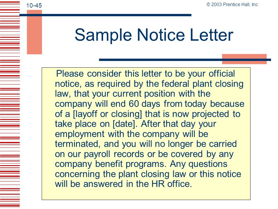 Sample Notice Letter