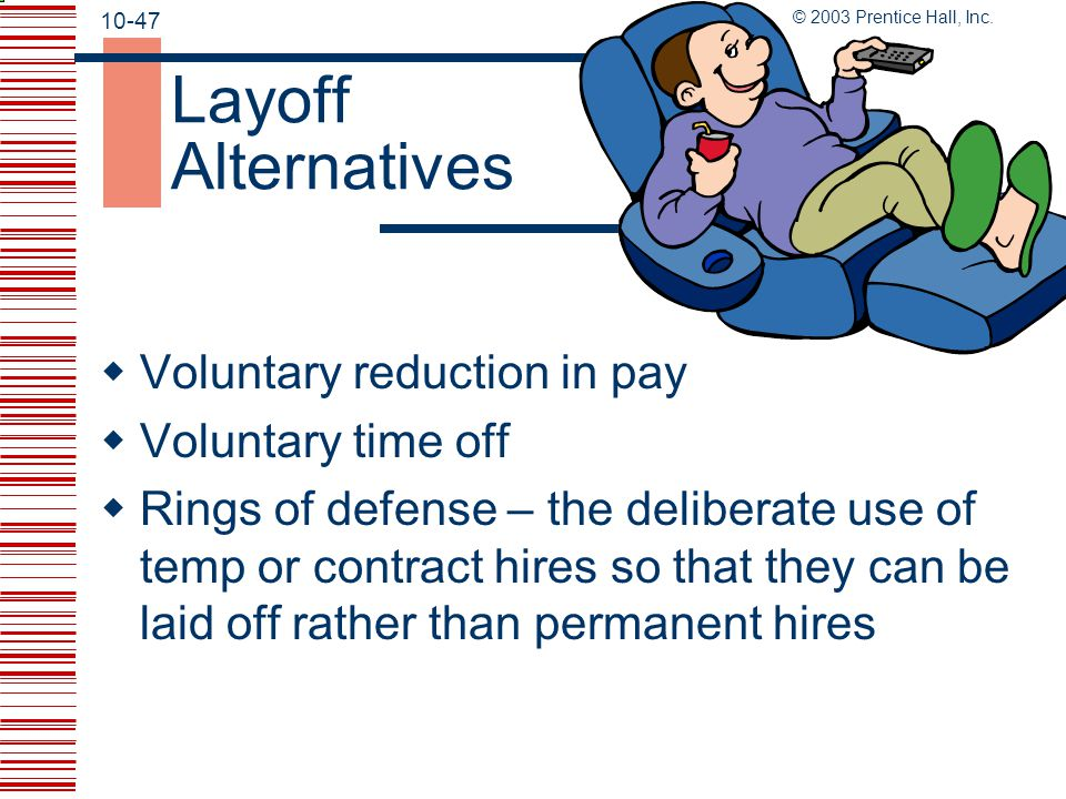 Layoff Alternatives Voluntary reduction in pay Voluntary time off