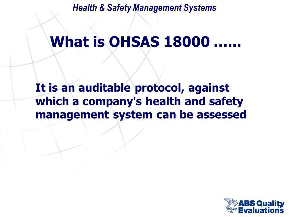 What is OHSAS 18000 …... It is an auditable protocol, against which a company s health and safety management system can be assessed.
