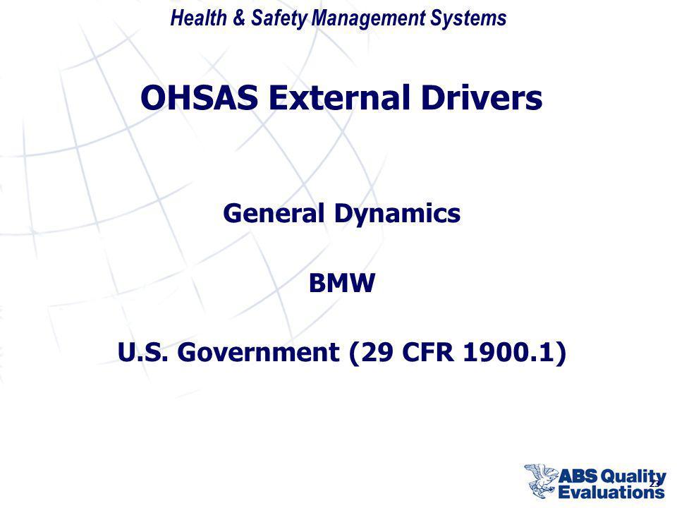 OHSAS External Drivers