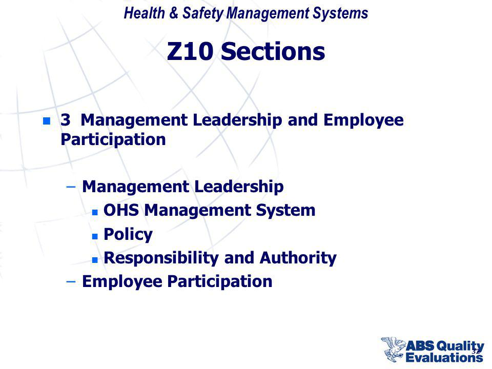 Z10 Sections 3 Management Leadership and Employee Participation