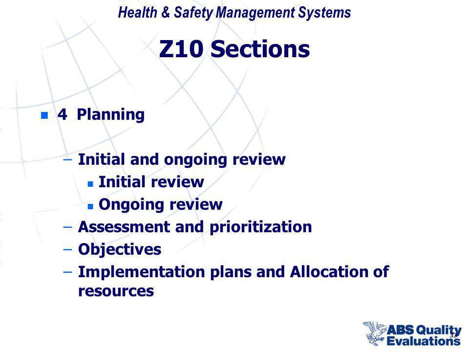 Z10 Sections 4 Planning Initial and ongoing review Initial review