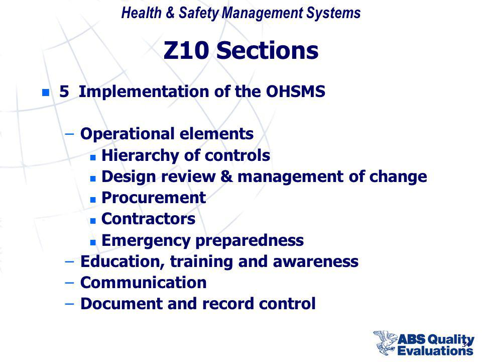 Z10 Sections 5 Implementation of the OHSMS Operational elements