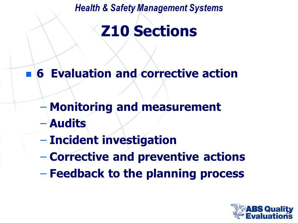 Z10 Sections 6 Evaluation and corrective action