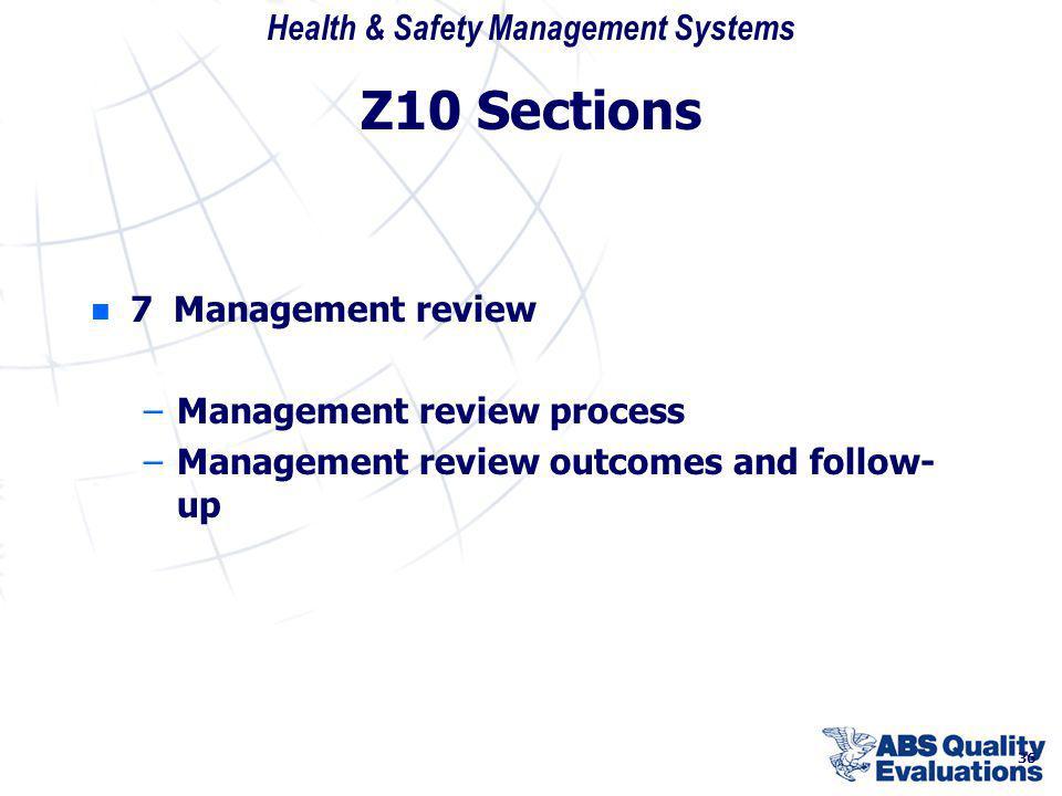 Z10 Sections 7 Management review Management review process