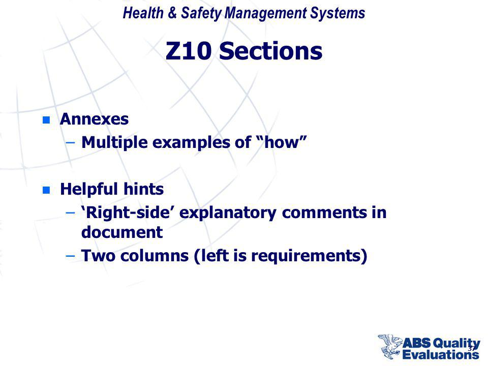Z10 Sections Annexes Multiple examples of how Helpful hints