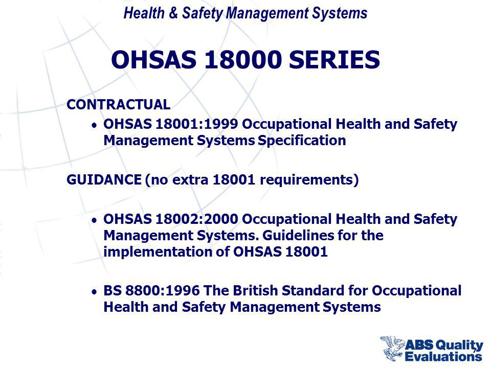 OHSAS 18000 SERIES CONTRACTUAL