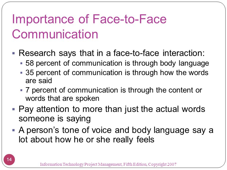 Importance of Face-to-Face Communication