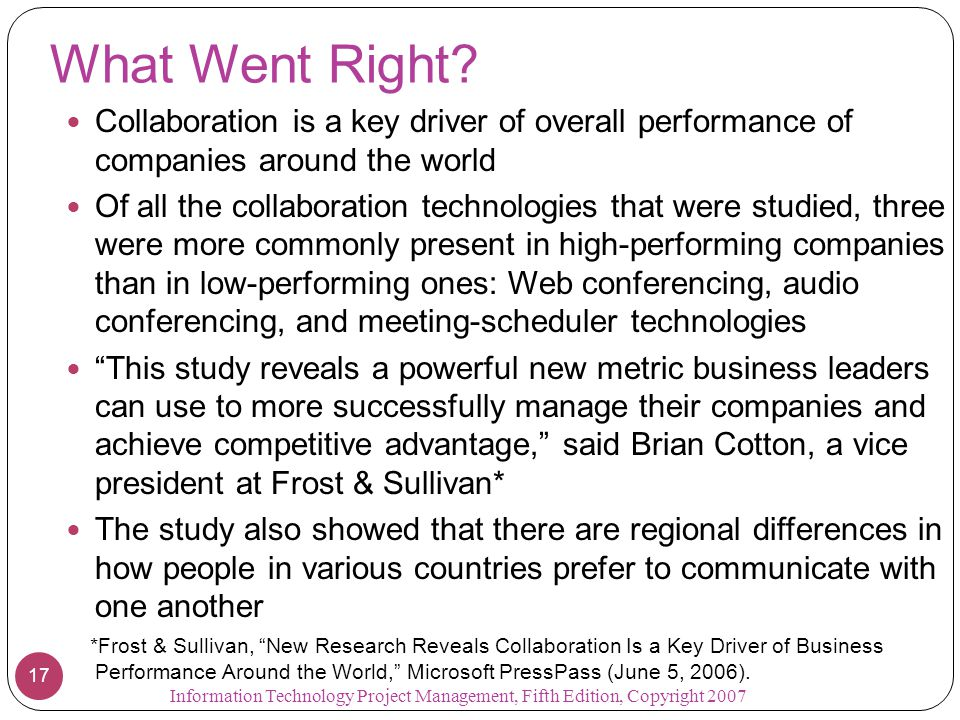 What Went Right Collaboration is a key driver of overall performance of companies around the world.