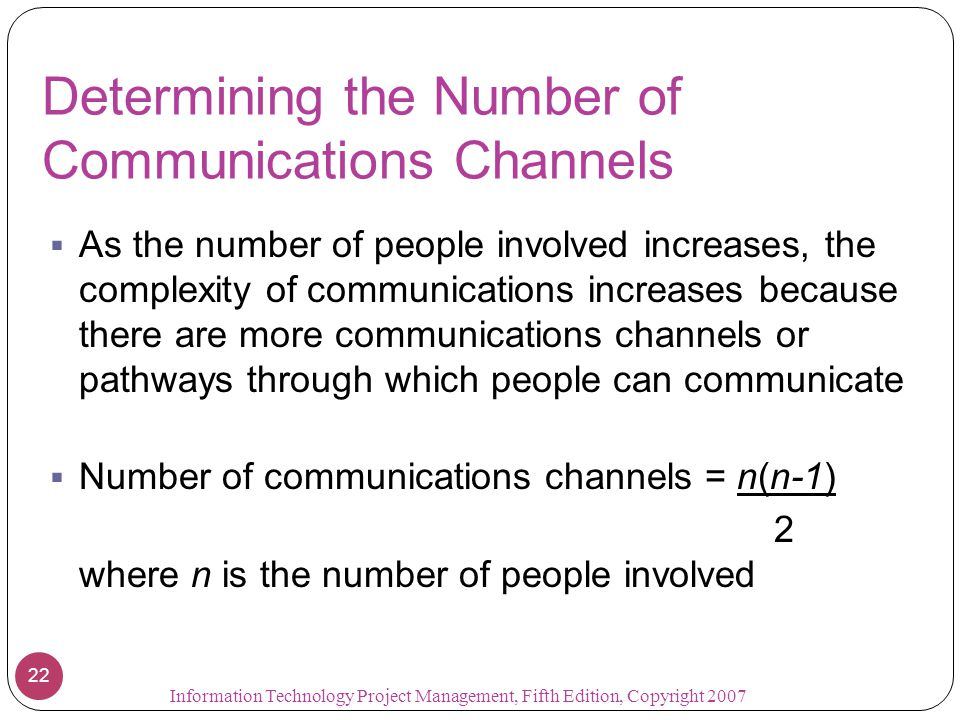 Determining the Number of Communications Channels