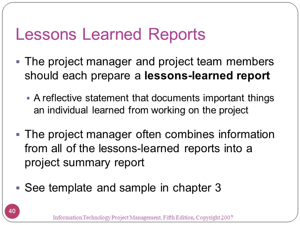 Chapter 10 project communications management ppt video for Lessons learnt project management template