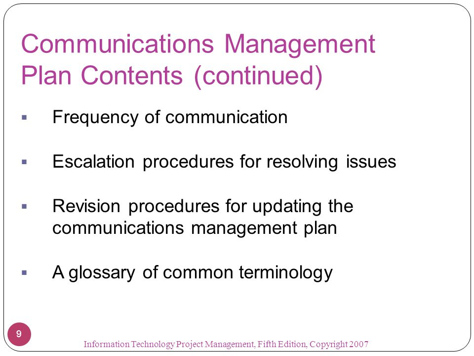 Communications Management Plan Contents (continued)