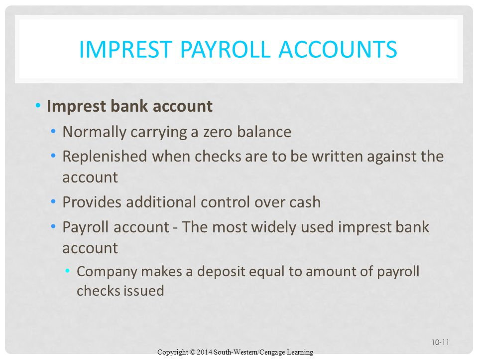 Imprest Payroll Accounts