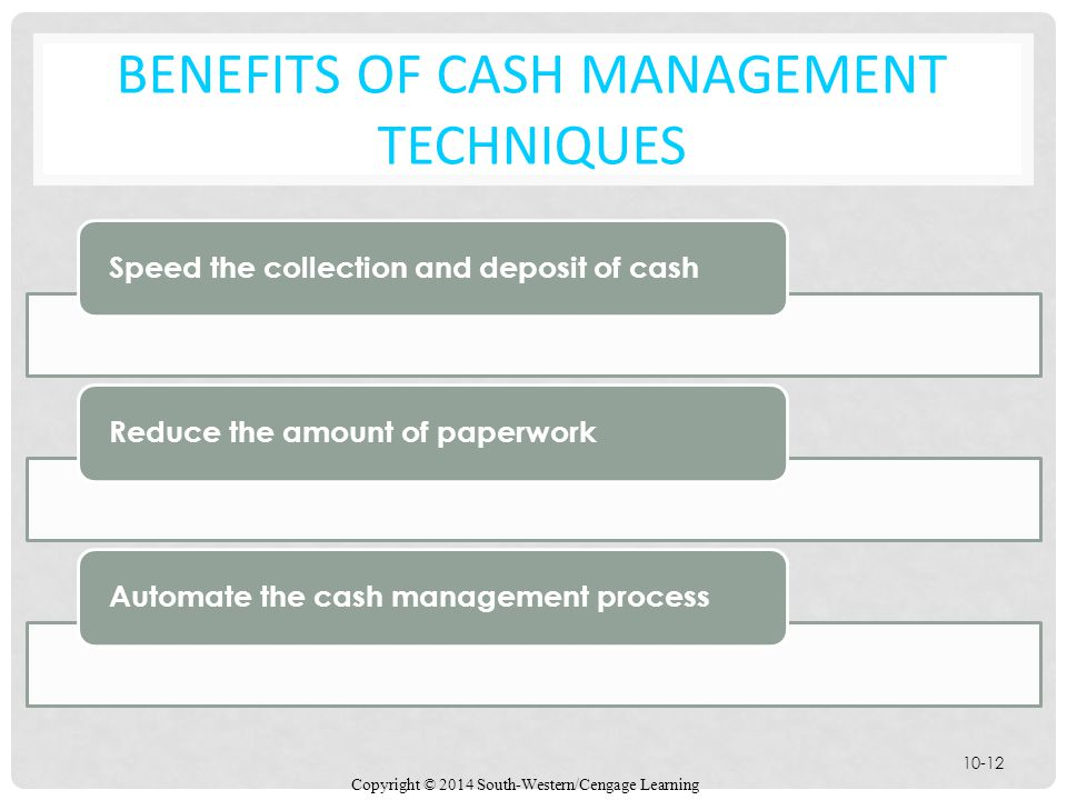 BENEFITS OF Cash Management Techniques