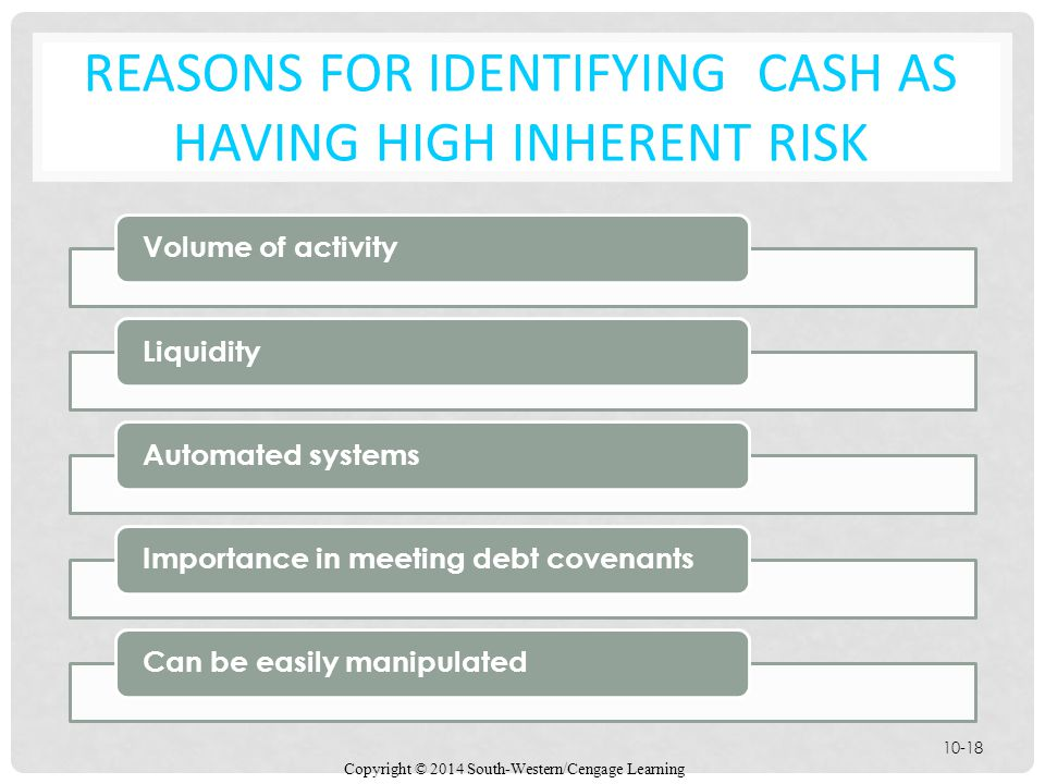 Reasons for Identifying cash as having high Inherent Risk