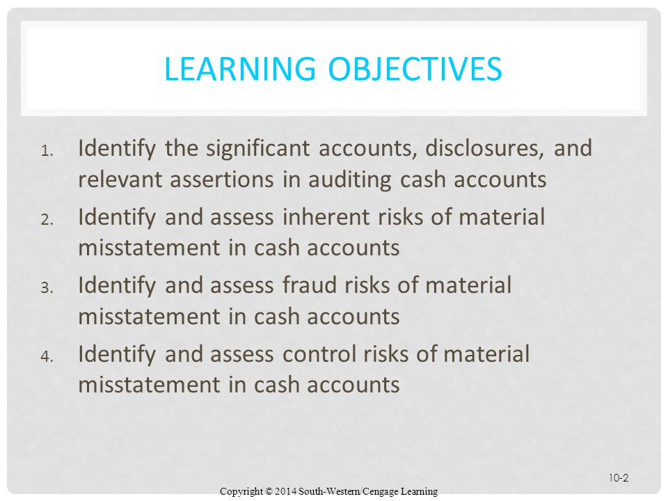 Learning Objectives Identify the significant accounts, disclosures, and relevant assertions in auditing cash accounts.