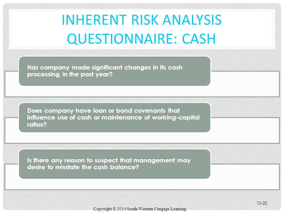 Inherent Risk Analysis Questionnaire: Cash