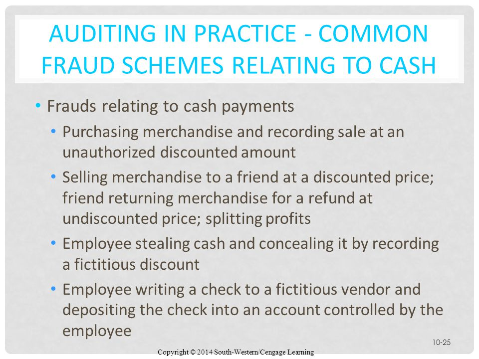 Auditing in Practice - Common Fraud Schemes Relating to Cash