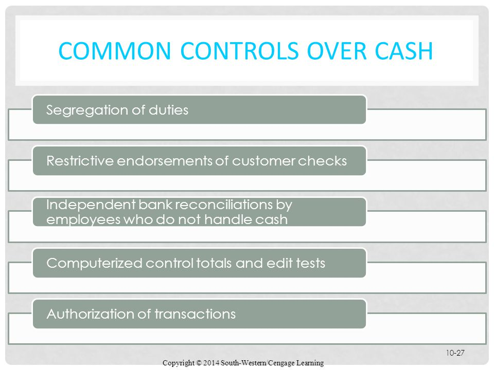 Common Controls Over Cash