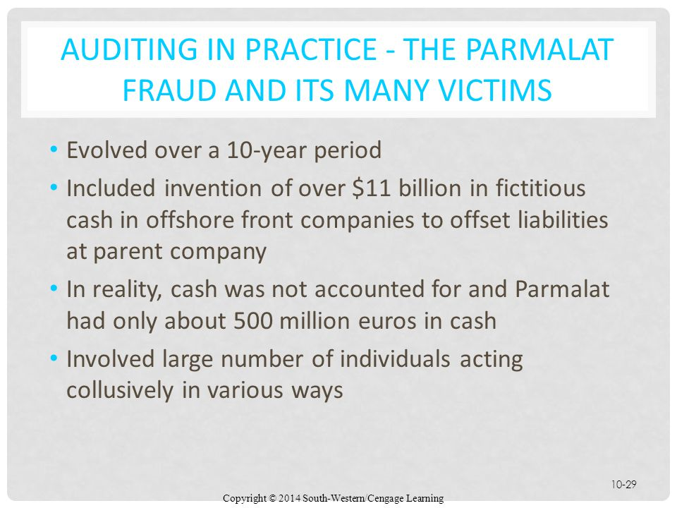 Auditing in Practice - The Parmalat Fraud and Its Many Victims