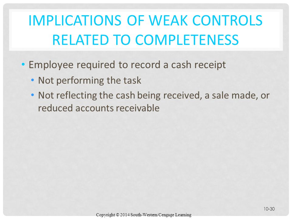 Implications of Weak Controls Related to Completeness