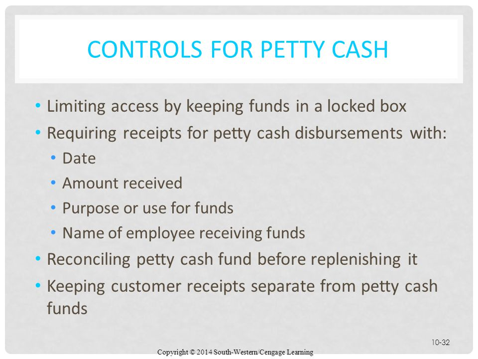 Controls for Petty Cash