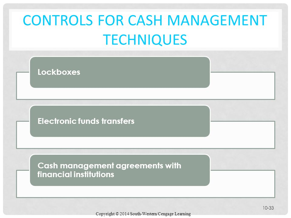 Controls for Cash Management Techniques