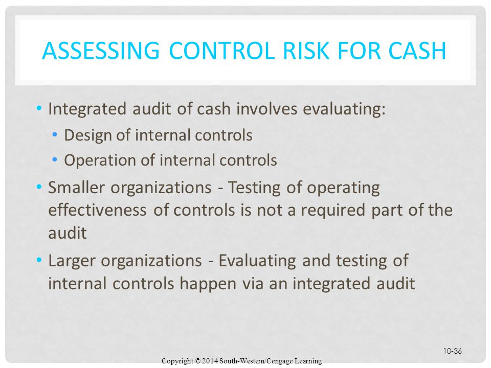 Assessing Control Risk for Cash
