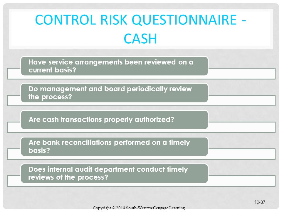 Control Risk Questionnaire - Cash