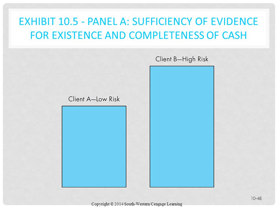EXHIBIT 10.5 - Panel A: Sufficiency of Evidence for Existence and Completeness of Cash