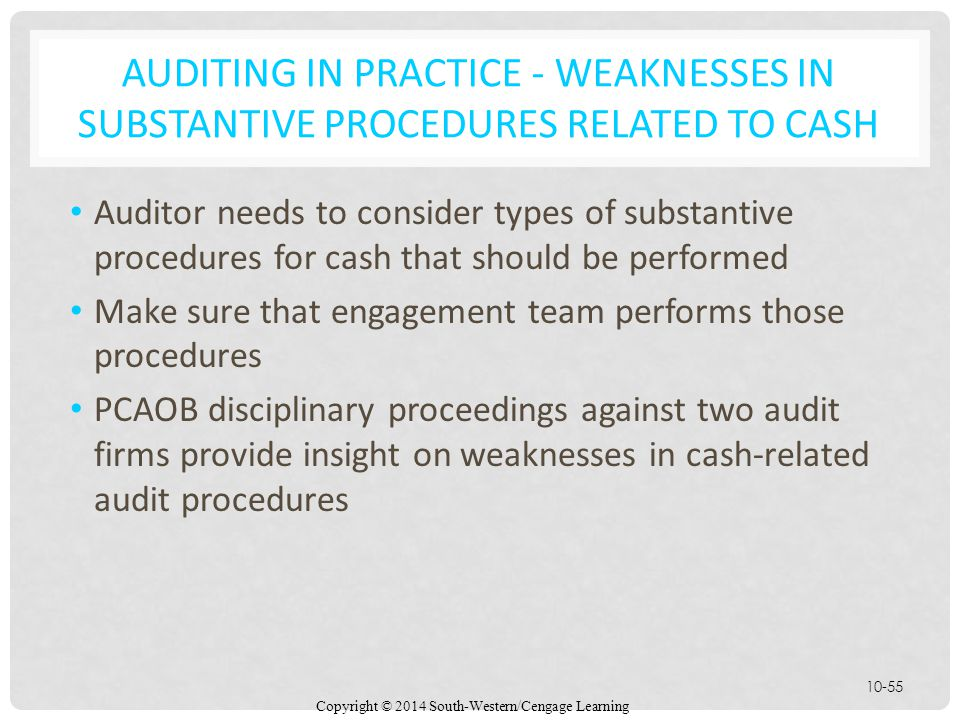 Auditing in Practice - Weaknesses in Substantive Procedures Related to Cash