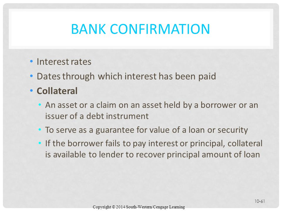Bank Confirmation Interest rates