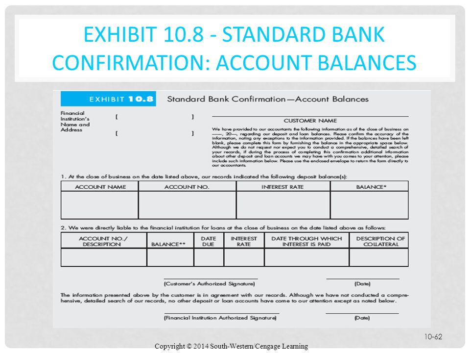 EXHIBIT 10.8 - Standard Bank Confirmation: Account Balances