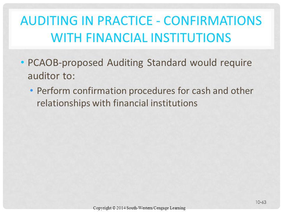 Auditing in Practice - Confirmations with Financial Institutions