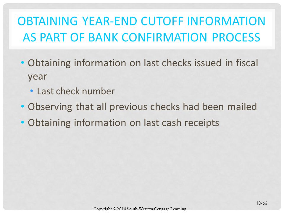 Obtaining Year-End Cutoff Information as Part of Bank Confirmation Process