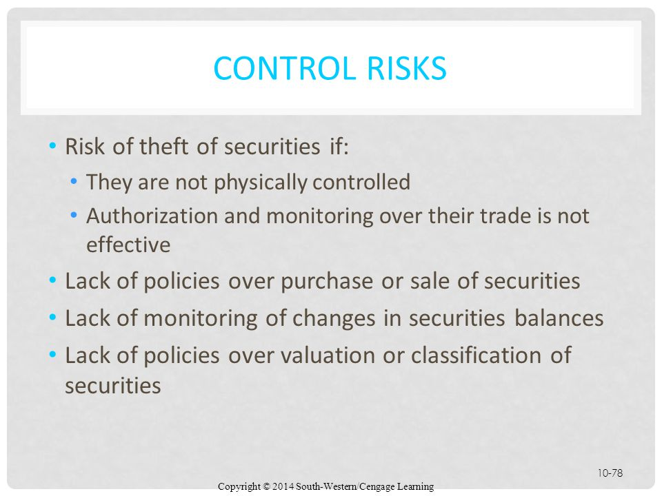 Control Risks Risk of theft of securities if: