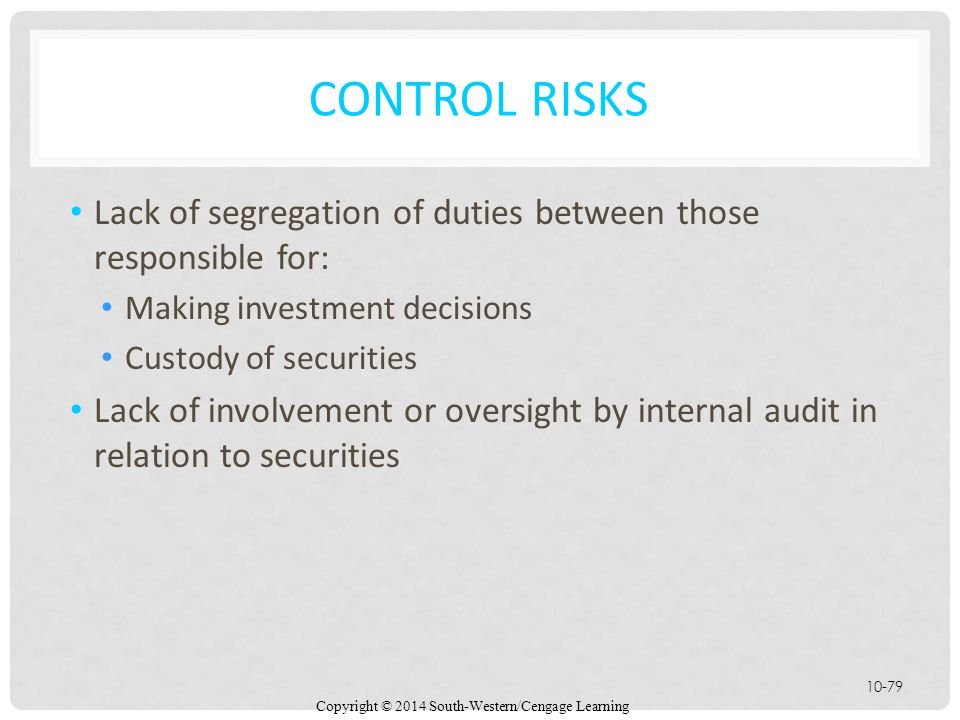 Control Risks Lack of segregation of duties between those responsible for: Making investment decisions.