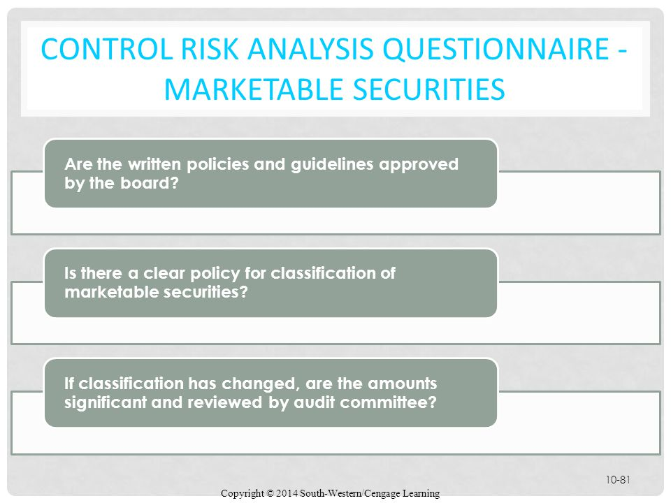 Control Risk Analysis Questionnaire - Marketable Securities