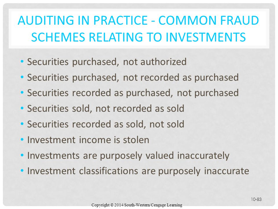 Auditing in Practice - Common Fraud Schemes Relating to Investments