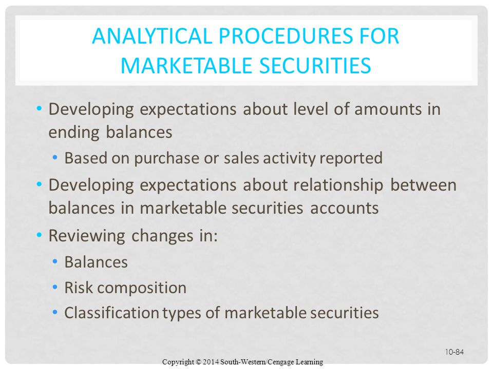 Analytical Procedures for Marketable Securities