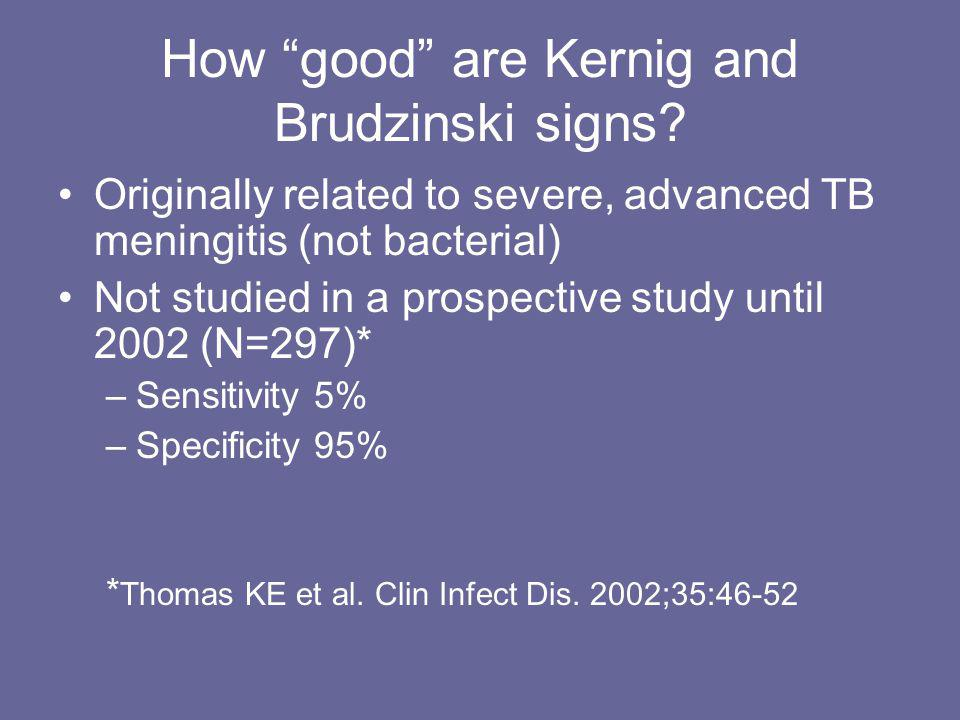 How good are Kernig and Brudzinski signs