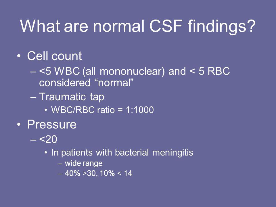 What are normal CSF findings