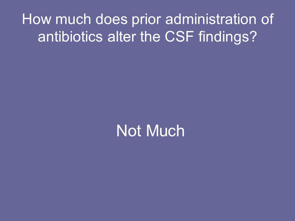 How much does prior administration of antibiotics alter the CSF findings