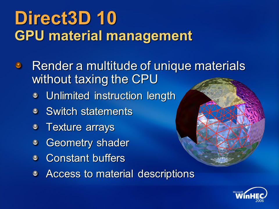 Direct3D 10 GPU material management