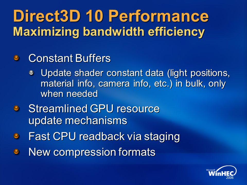 Direct3D 10 Performance Maximizing bandwidth efficiency
