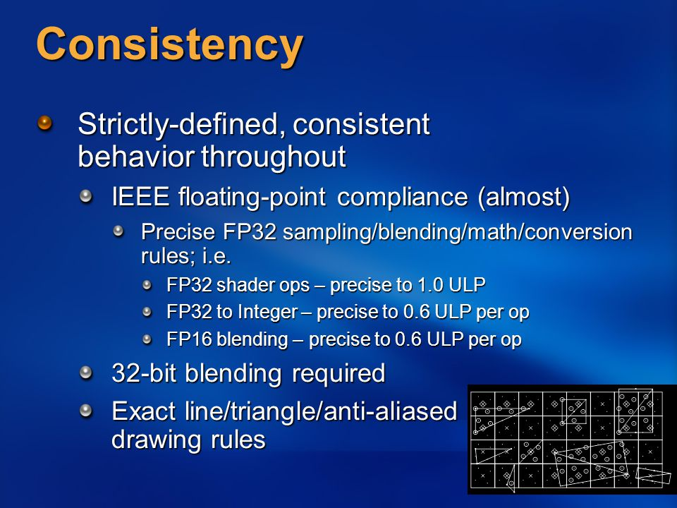 Consistency Strictly-defined, consistent behavior throughout