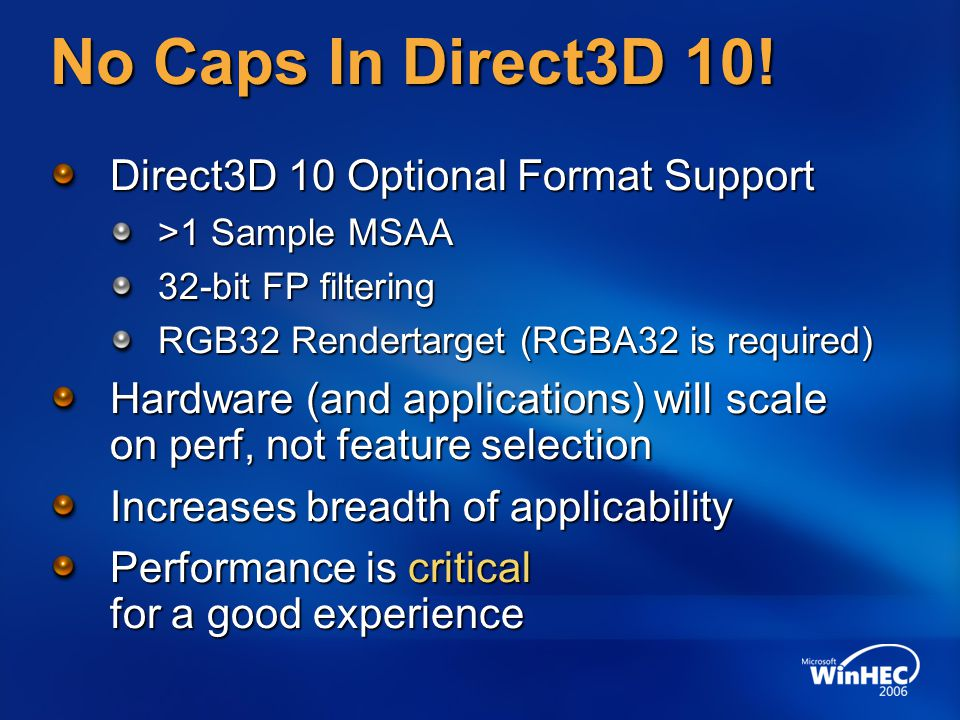 No Caps In Direct3D 10! Direct3D 10 Optional Format Support