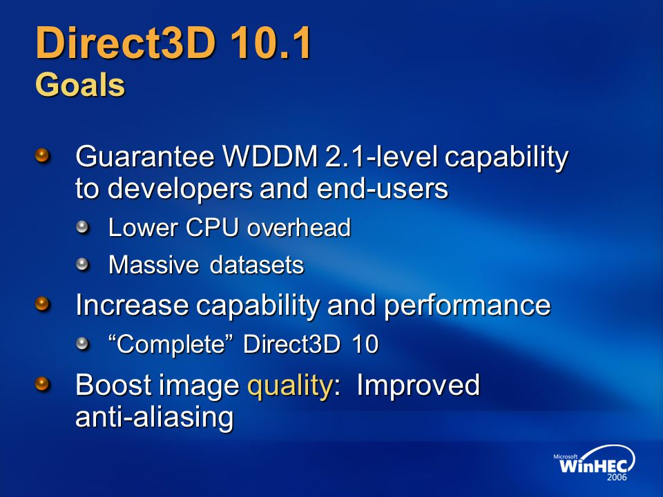 4/7/2017 12:35 PM Direct3D 10.1 Goals. Guarantee WDDM 2.1-level capability to developers and end-users.